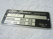 Alfa Romeo ALFASUD ENGINE BAY IDENTIFICATION PLATE, NOS