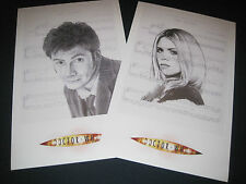 Set of 2 Dr. Who Lithographs- 10th Doctor and Rose!  11x17 inches! B&W! LOOK!