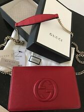 Auth GUCCI Red Soho Chain Strap Leather Crossbody Bag Clutch Saks Exclusive