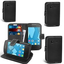 ALCATEL ONE TOUCH 0T 3040 BLACK PU LEATHER BOOK WALLET CASE COVER