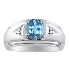 Mens Blue Topaz & Diamond Ring 14K White Gold December Birthstone