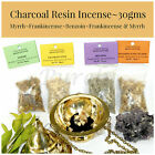 ~RESIN INCENSE~30gms~Frankincense Myrrh Benzoin~Charcoal~Wicca~Pagan~Ritual~