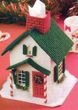 CHRISTMAS HOUSE TISSUE COVER PLASTIC CANVAS PATTERN INSTRUCTION ONLY FROM A BOOK
