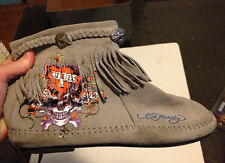 Casual Flats Designer Moccasins Boots ED HARDY Gray Suede Shoes Size Women's 9.5
