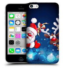 CUSTODIA COVER per APPLE IPHONE 5C TPU  BACK CASE BABBO NATALE RENNA