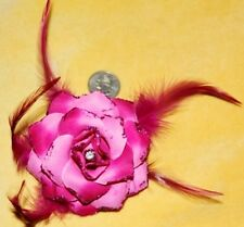 PINK Flower Goth BURLESQUE BOHO FEATHER TRIBAL Belly Dance Dancing Hair CLIP PIN
