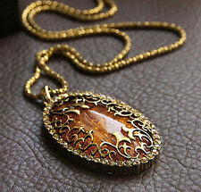 Classic Vintage Amber Hollow Long chain Sweater Pendant Necklace Jewelry Fashion