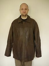 M Julian Wilsons Leather Quilt Lined Textured Brown Over Coat Jacket 2XL XXL