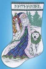Santa And Polar Bear Christmas Stocking Cross Stitch Kit