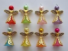 8x Angel Charms Pendants Lucite Frosted Flower Beads Gold Heart Filigree Skirt