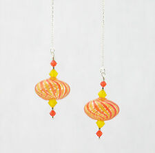 ORANGE & YELLOW HAND BLOWN GLASS, STERLING SILVER Ear Threads Threader Earrings