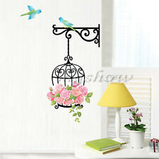 Removable Art Vinyl Flower Rose Bird Cage Wall Decal Sticker Home Room Decor DIY