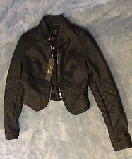 NWT C. Luce Women's Faux Leather Solid Black Moto Jacket Zip Front Lined S $76