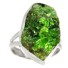 Natural Emerald Rough 925 Sterling Silver Ring Jewelry s.7 RR21287