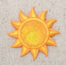 Iron On Embroidered Applique Patch Tropical Summer Yellow Beach Sun