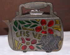 """Napkin/Letter  holder in Cast Iron with Stained Glass accents and """"Las Vegas"""""""