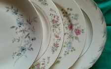 4 Vtg WHITE Floral Mismatched China Dinner Plates, Shabby Chic Wedding Tea DP2d
