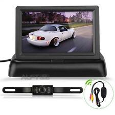 """4.3"""" LCD TFT Moniteur Pliable Caméra de Recul 120° LED Nocturne Étanche Voiture"""