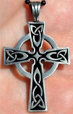 Celtic Cross Irish goth tattoo druids wicca pagan pewter pendant necklace new