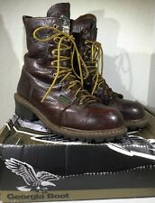 Georgia Boot Men's Logger Size 10 Brown Leather Steel-Toe Work Boots ZE-147