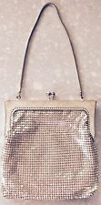 Gorgeous small vintage silver metal mesh evening bag