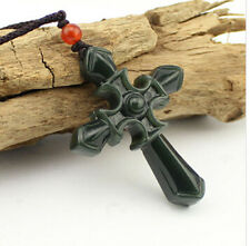 Black Cyan 100% Natural A Hetian Jade beautiful holy cross pendant