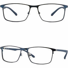 Wide Light Mens Titanium Frames Prescription Glasses Lenses Sunglasses Navy Blue