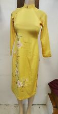 Yellow long slit silk dress,tunic,kimono style,custom small,boho,70'S,Coachella
