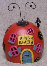 Garden Accent Fairy or Gnome Battery Lighted Lady Bug Paint Shop House NEW