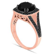 ENHANCED BLACK DIAMOND ENGAGEMENT RING 14K ROSE GOLD PINK GOLD  4.02 CARAT
