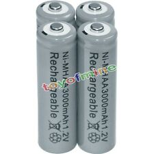 4x AA battery batteries Bulk Nickel Hydride Rechargeable NI-MH 3000mAh 1.2V Gray