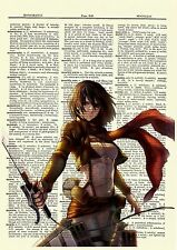 Mikasa Attack On Titan Anime Dictionary Art Print Poster Picture Book Manga