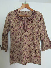 Long Brown & Burgundy Floral 3/4 Sleeve Indian Style Tunic / Top in Size 12