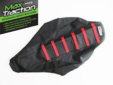 SUZUKI RM125 2001 2002 2003 2004 RIBBED SEAT COVER BLACK WITH RED STRIPES RIBS