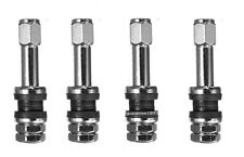 FLUSH MOUNT METAL/CHROME TIRE VALVE STEMS HIGH PRESSURE BOLT IN 4 PIECES.