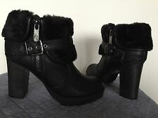 New GUESS Black Faux Fur Leather Zip Stacked Heel Ankle Booties Sz 7.5/ 37.5 EUR