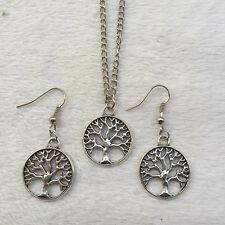New1 set of Retro silver Tree pendant necklace & earrings Fashion Jewelry  &2