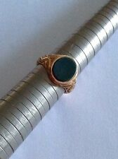 Fine Antique Victorian 15ct Gold Oval Polished Bloodstone Engraved Signet Ring