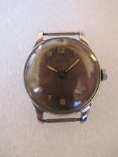 Soviet vintage military incabloc men's watch Pobeda radium dial screwed back