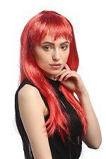 Parrucca Carnevale Donna lunga liscia Pony rosso Brillante Mechès XR-003