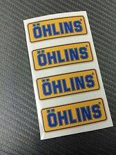 4 Adesivi Sticker OHLINS Giallo e Blu 43 x 15 mm