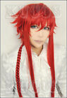 646 Kamigami no Asobi Loki Leviathan Roki 100cm long braided red cosplay wig