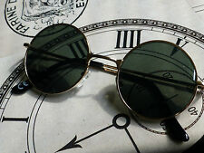 Steampunk Marrone Lente GOLD FRAME ROUND SUNGLASSES Vampiro / Goth / DRACULA / Whitby