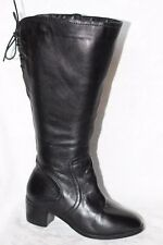 David Tate 'Snug' Black Leather Knee High Winter Boots Women's 7 WW Wide Calf