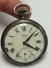 Antique Swiss Bla3on Antichoc Ancre 16 Rubis Base Metal Pocket Watch 14 Size