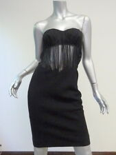 Gianni Versace Couture Strapless Quilted Dress with Sheer Waist Black Size 40