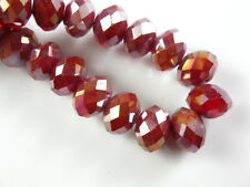 100pcs 6x4mm Jade Red AB Faceted Glass Crystal Charms Rondelle Loose Beads