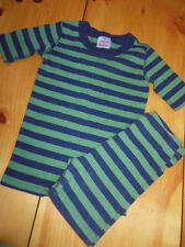 HANNA ANDERSSON 130 US 8 yr Green/Navy Stripe Organic Cotton PJ Set Shorts, SS