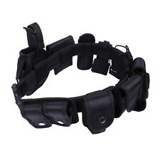 Black Tactical Nylon police Security Guard Duty Belt Utility Kit System w Pouch