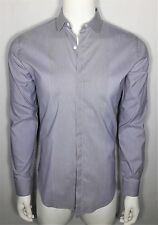 FENDI Men's 42 (16 / 36) Blue Cotton L/s Shirt w/ Contrast Collar & Placket